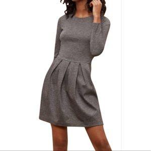Aritzia Talula grey long sleeve fit n flare dress